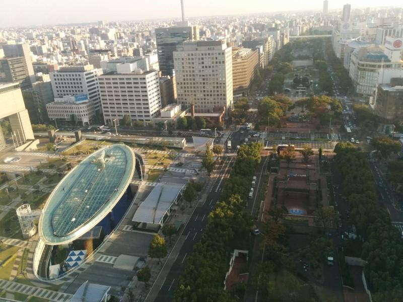 Blick auf Oasis 21 und den Central Park vom Nagoya TV Tower.